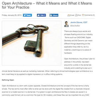 An article about restoration dental open architecture
