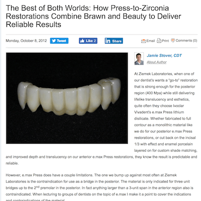 An article about Restoration Dental Zirconia