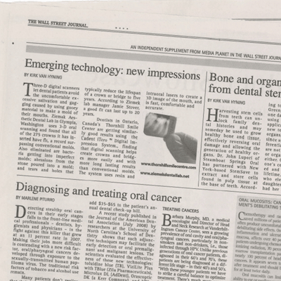 The Wall Street Journal with our Restoration Dental procedure featured